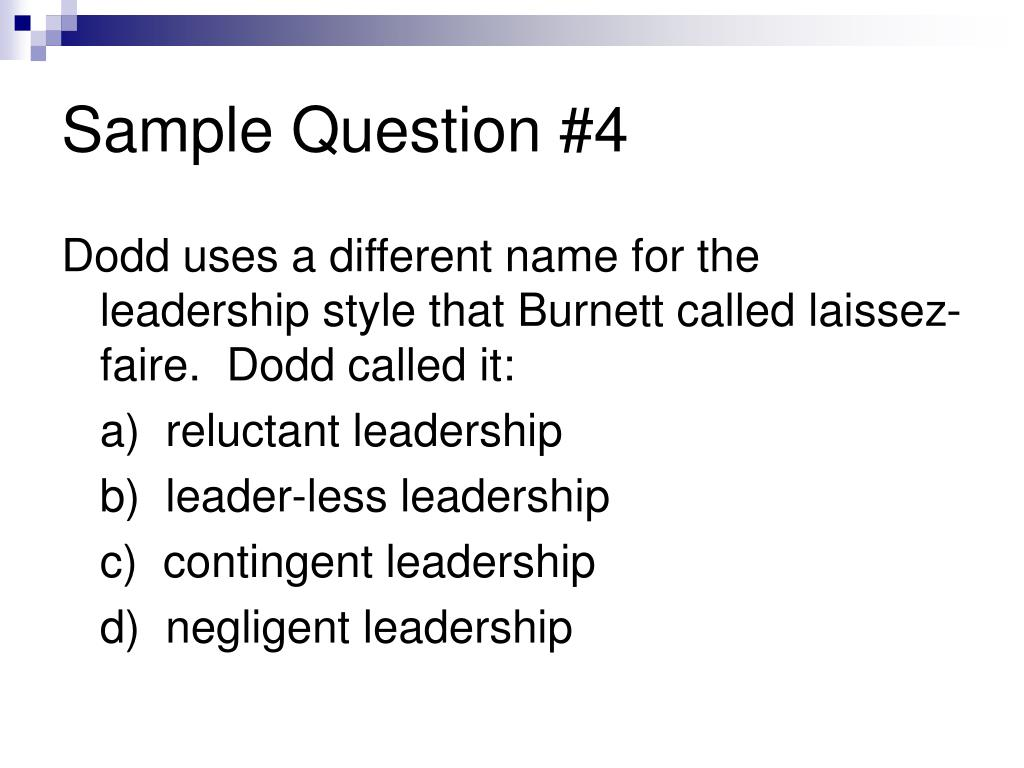 Sample Question #4
