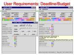 user requirements deadline budget
