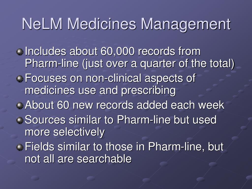 nelm medicines management l.