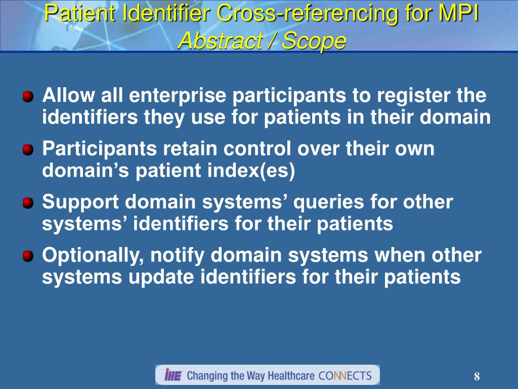 Patient Identifier Cross-referencing for MPI