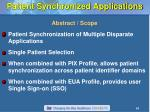 patient synchronized applications