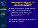 experience in translation and interchange of gi data need for transformation tools