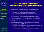 iso 19139 experience encoding rules and transformation tools