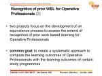 recognition of prior wbl for operative professionals 2
