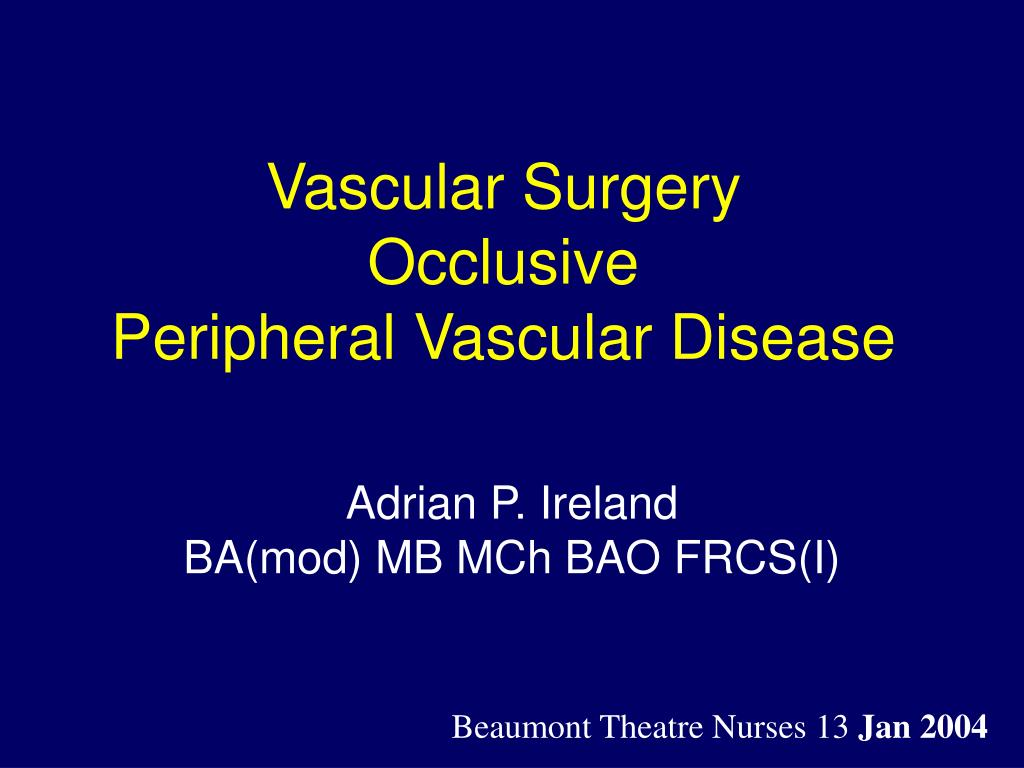 vascular surgery occlusive peripheral vascular disease l.