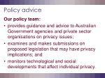 policy advice