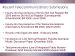recent telecommunications submissions