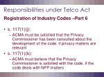 responsibilities under telco act