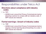 responsibilities under telco act16