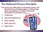 the national privacy principles