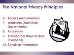 the national privacy principles6