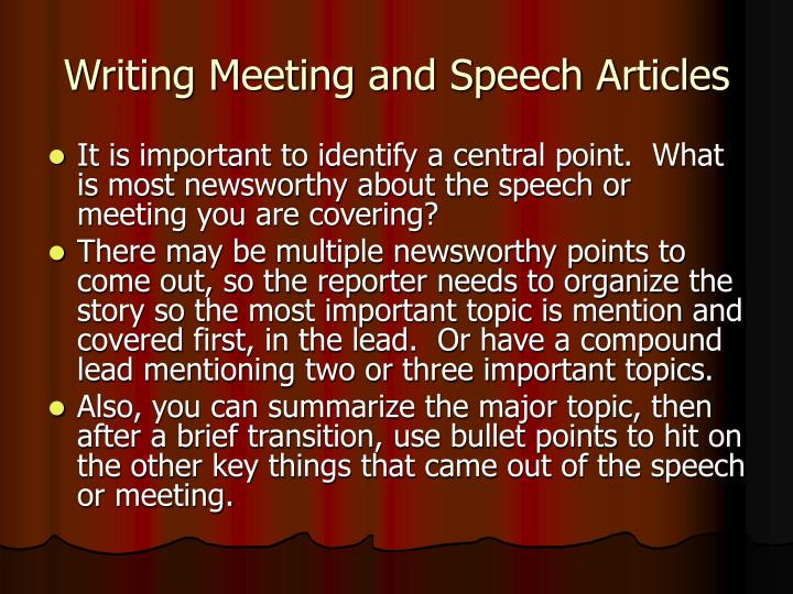 Writing Meeting and Speech Articles