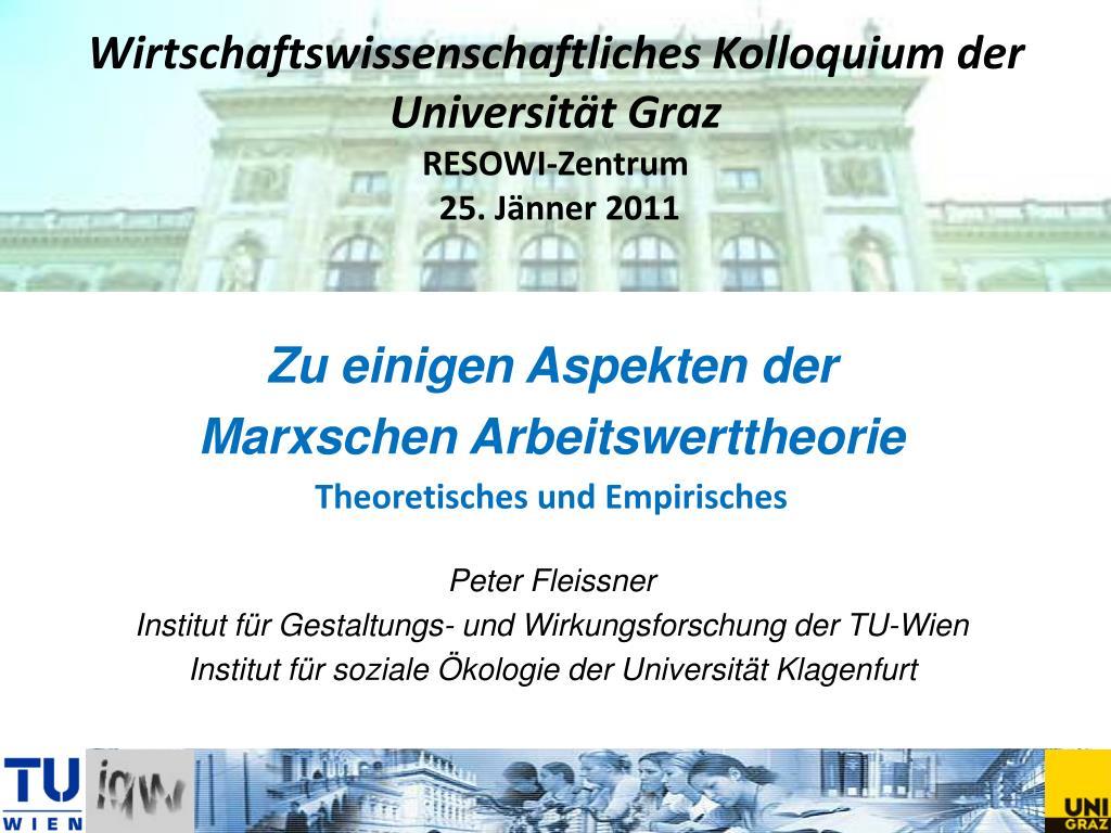 wirtschaftswissenschaftliches kolloquium der universit t graz resowi zentrum 25 j nner 2011 l.