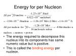 energy for per nucleon