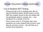 answer document coding continued