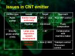 issues in cnt emitter