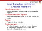 direct exporting distribution channel members
