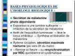 bases physiologiques de l horloge biologique