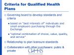 criteria for qualified health plans