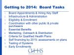 getting to 2014 board tasks