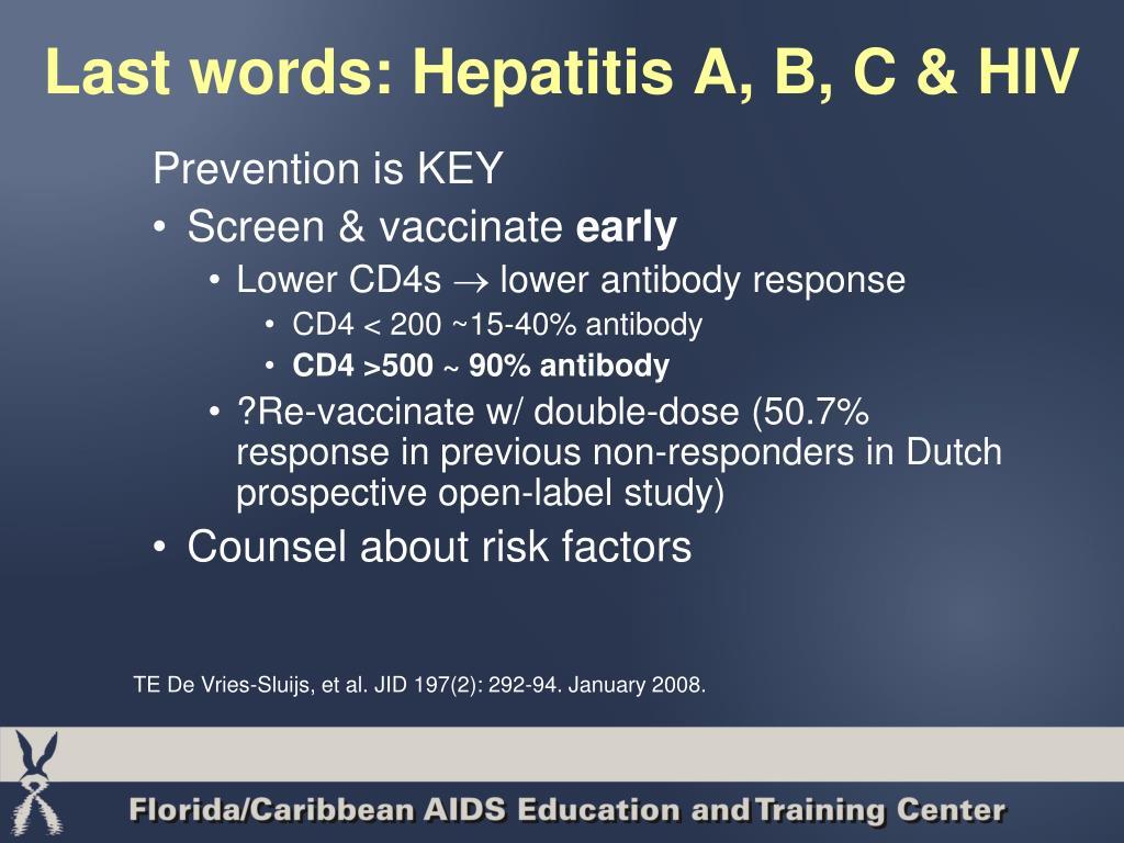 Last words: Hepatitis A, B, C & HIV