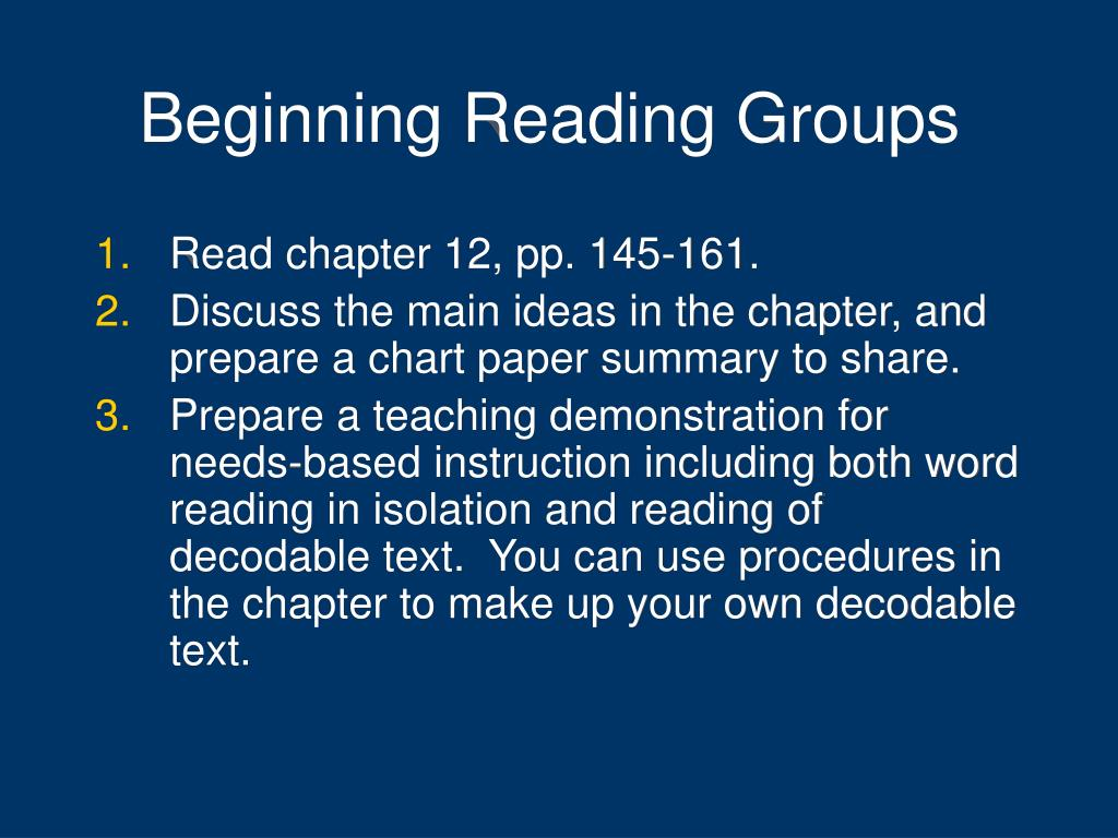Beginning Reading Groups