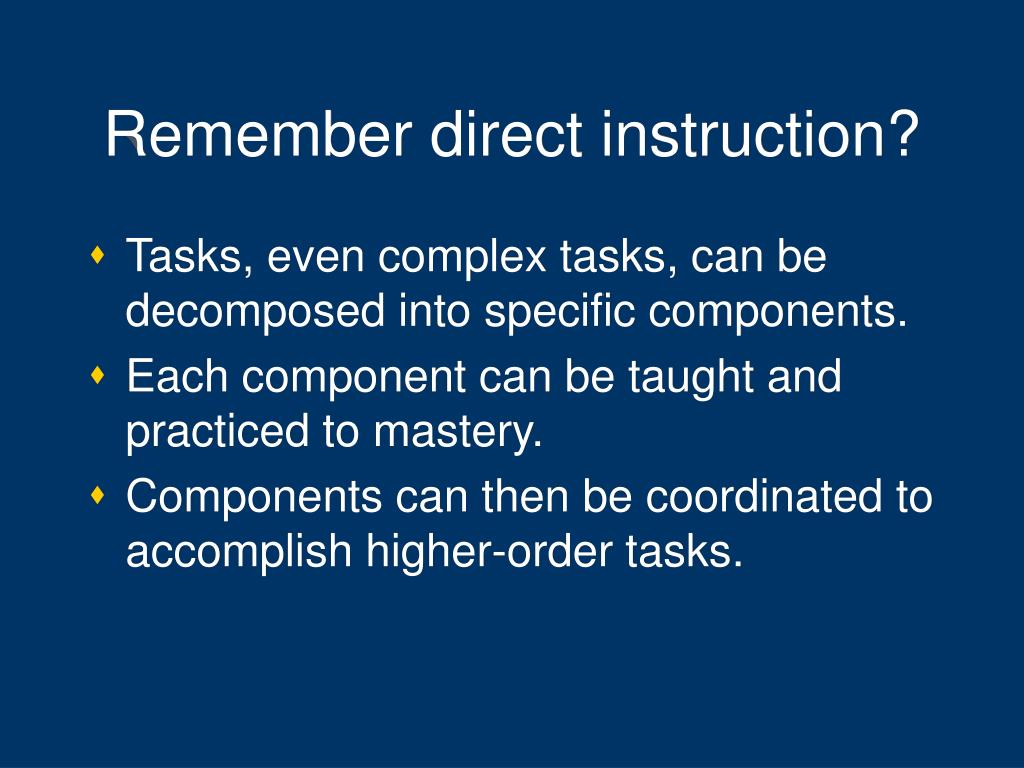 Remember direct instruction?