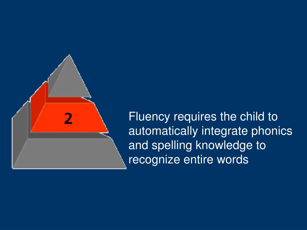 Fluency requires the child to automatically integrate phonics and spelling knowledge to recognize entire words