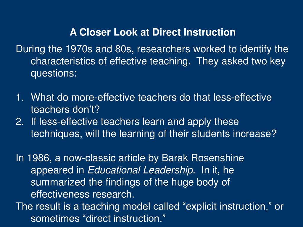 A Closer Look at Direct Instruction
