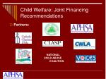 child welfare joint financing recommendations