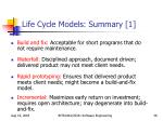 life cycle models summary 1