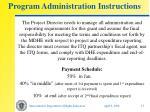 program administration instructions