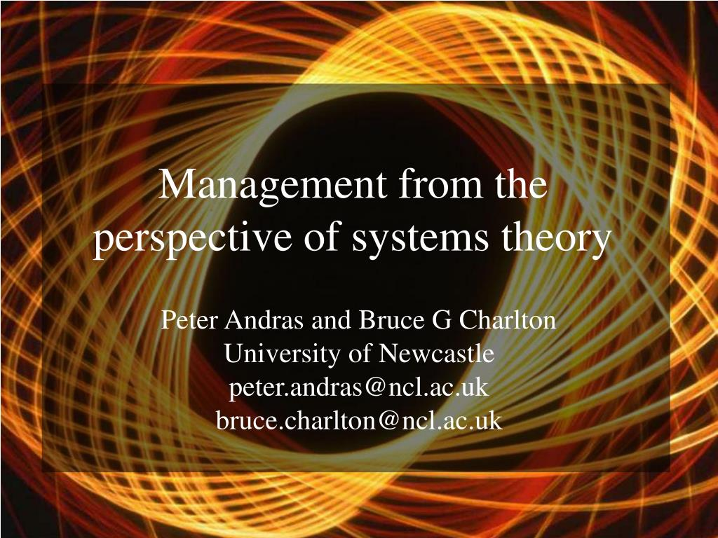 management from the perspective of systems theory l.