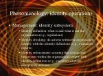phenomenology identity operations