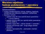 warstwa najni sza funkcje podstawowe operatory
