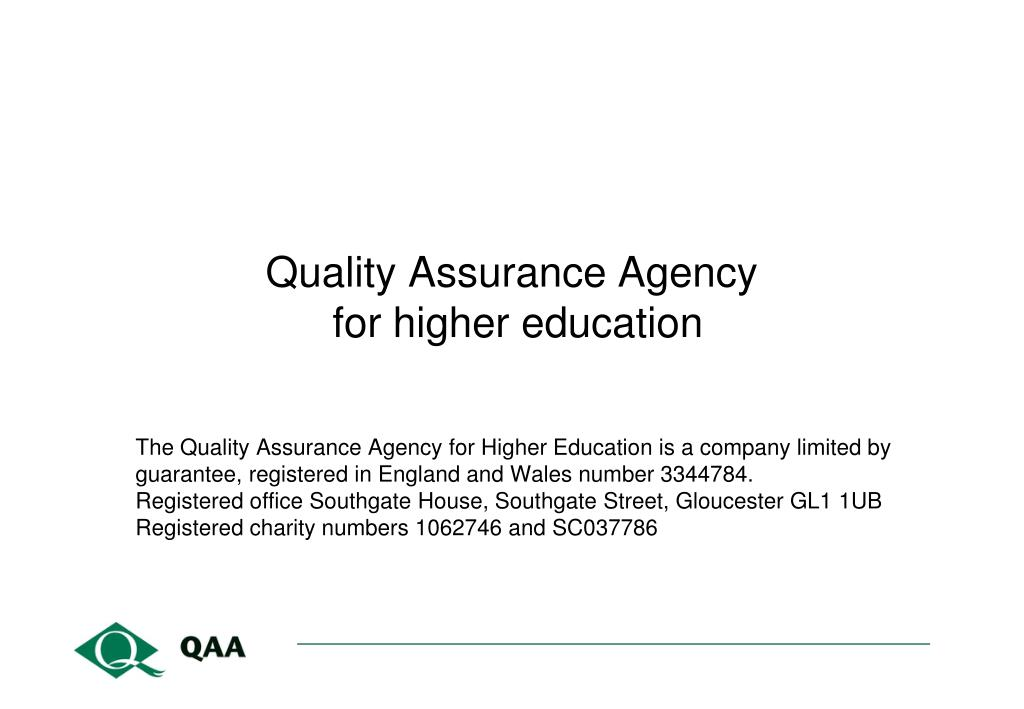 quality assurance agency for higher education l.