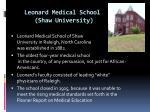 leonard medical school shaw university