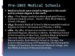 pre 1865 medical schools
