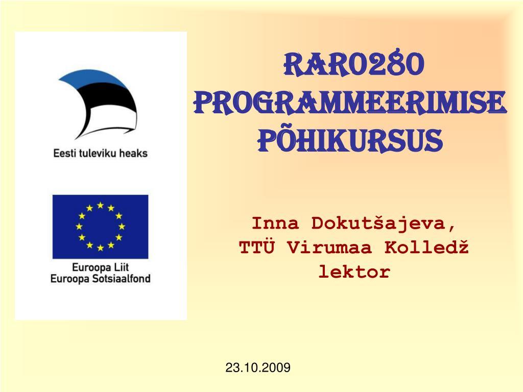 rar0280 programmeerimise p hikursus l.