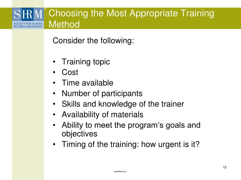 Choosing the Most Appropriate Training Method