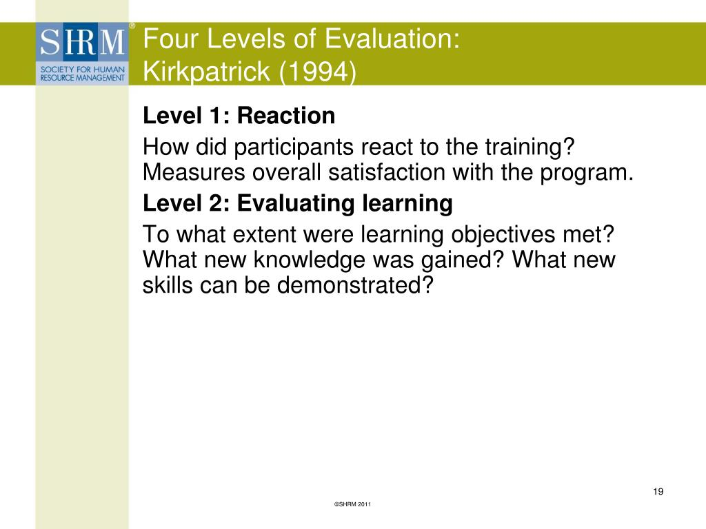 Four Levels of Evaluation: