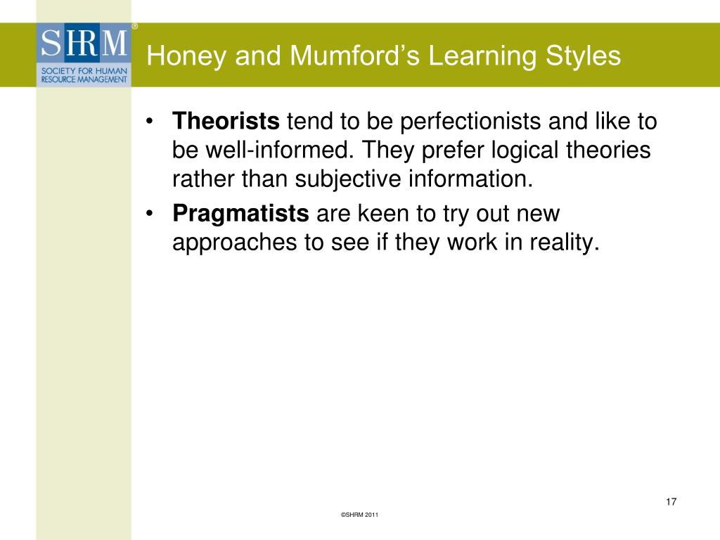 Honey and Mumford's Learning Styles