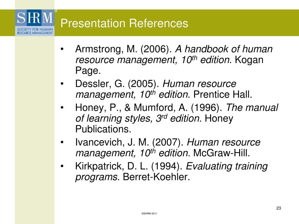 Presentation References
