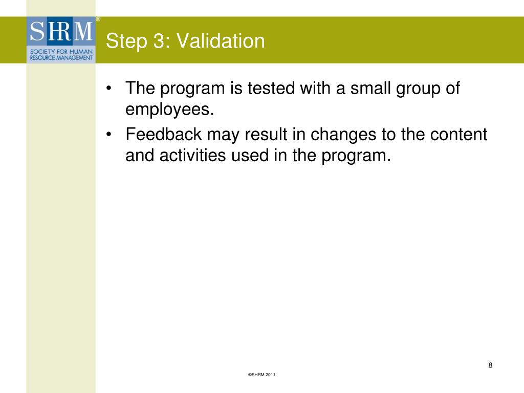 Step 3: Validation