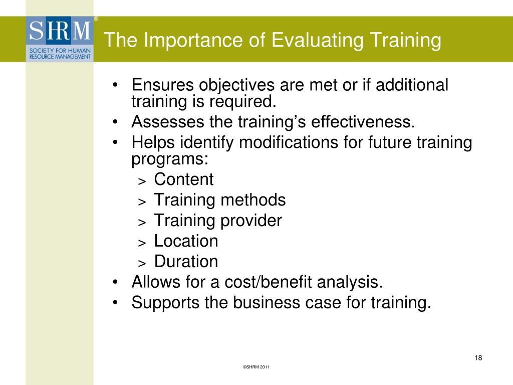 The Importance of Evaluating Training