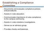 establishing a compliance committee