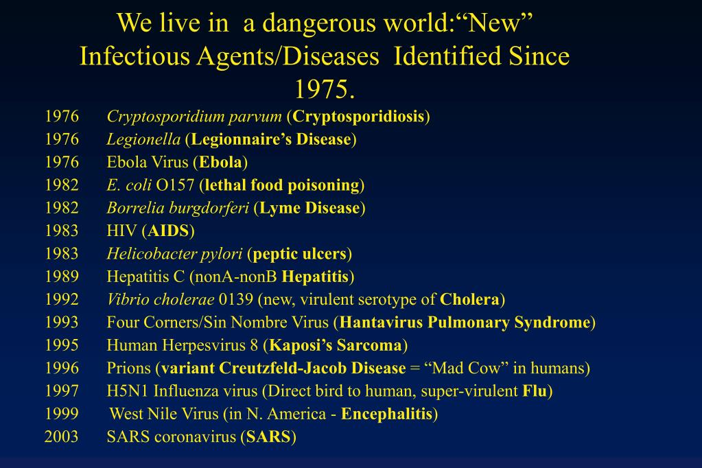 we live in a dangerous world new infectious agents diseases identified since 1975 l.
