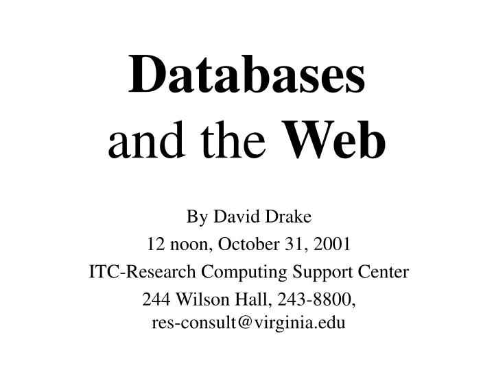 Databases and the web