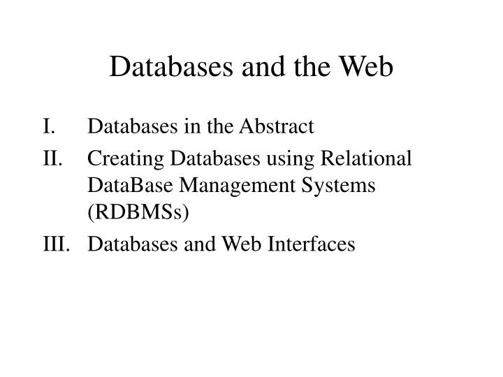 Databases and the web2