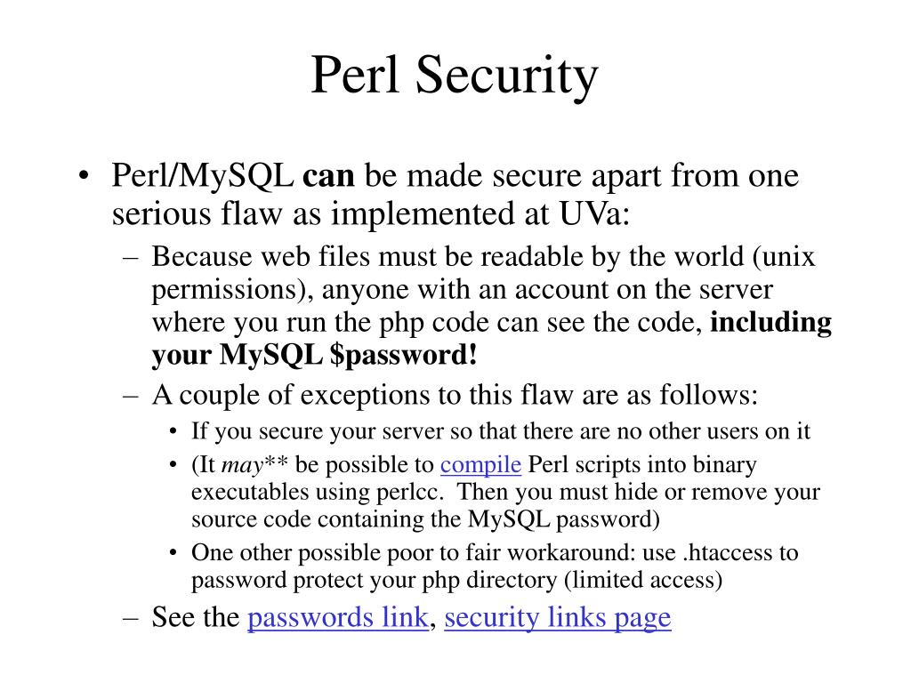 Perl Security